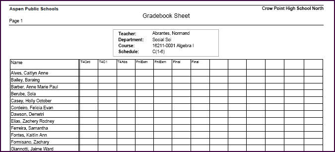 teacher grade sheet template